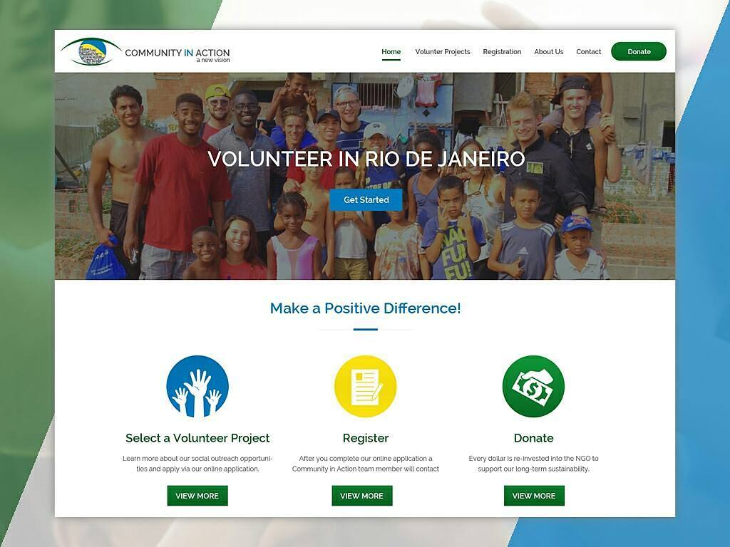 Community in Action, Professional Web Design, Web Design in Brazil, NGO Web Design, Website Redesign